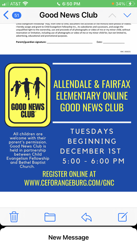 Good News Club every Tuesday.  Please register your child(ren), for this weekly experience!