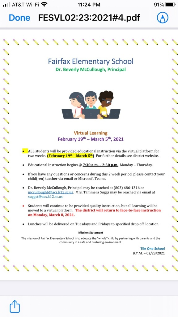 Virtual Information for February 19th through March 5th.