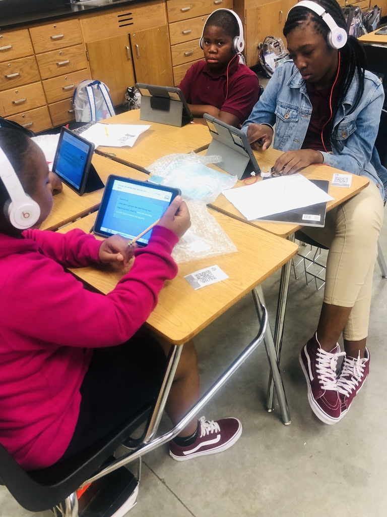 AFMS students working on iReady assignments
