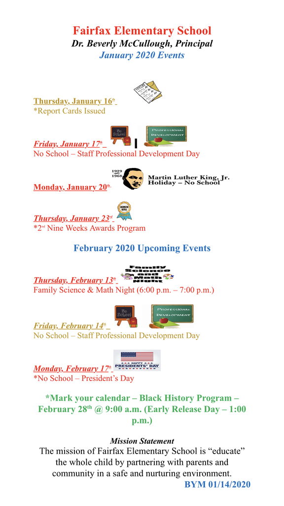 2020 Events for January & February