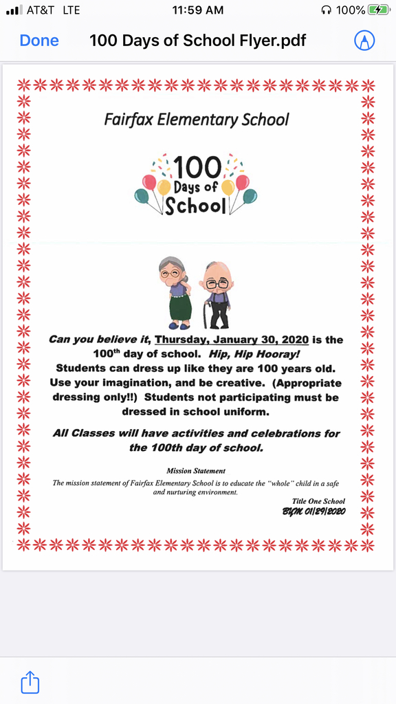 Let's see our Baby Tigers transform to 100 years old on Thursday, January 30th, for the 100th day of School here at Fairfax Elementary School!