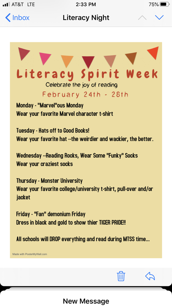 Daily themes for Literacy Spirit Week!