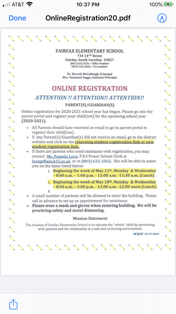 Fairfax Elementary Online Student Registration for 2020-2021!